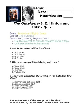 The Outsiders Pre-Reading S. E. Hinton & 1960s Scavenger Hunt Quiz & Answer Key