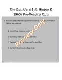 The Outsiders Pre-Reading S. E. Hinton & 1960s SMART RESPONSE CLICKER QUIZ
