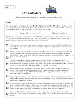 The Outsiders Project By Michael Modleski Teachers Pay Teachers The Outsiders Chapter 1 Worksheet The Outsiders Project