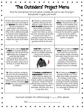 The Outsiders Project Choice Board