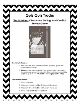 The Outsiders Quiz-Quiz-Trade Review Game
