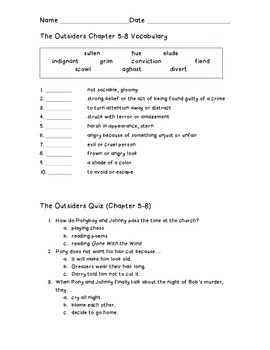 The Outsiders Quizzes-Multiple Choice