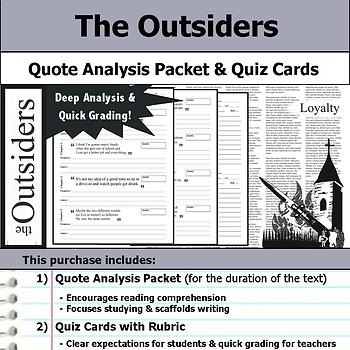 The Outsiders - Quote Analysis & Reading Quizzes