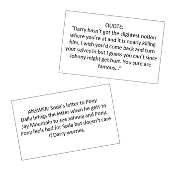 The Outsiders - Quotes and Characters (Quiz Quiz Trade)