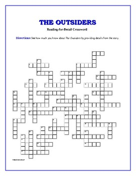 The Outsiders: 50-clue Reading-for-Detail Crossword—Fun Objective Activity!