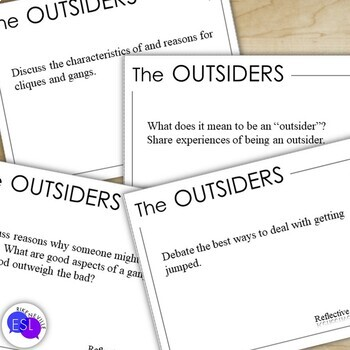 The Outsiders:  Reflection Task Cards