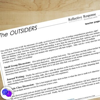 The Outsiders:  Reflection Discussion Cards