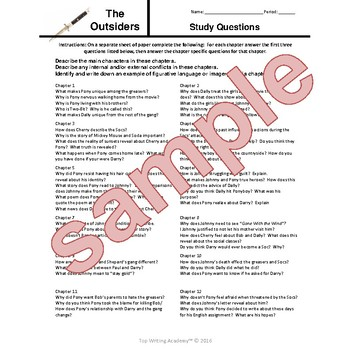 The Outsiders S.E. Hinton Chapter Questions, Vocabulary, Novel Unit Exam