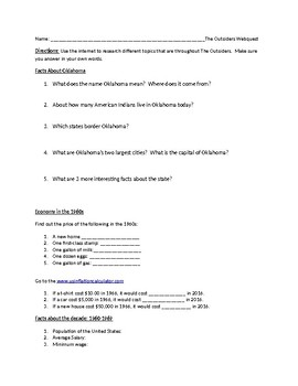The Outsiders Setting (time and place) web quest