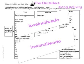 The Outsiders Slang Activity