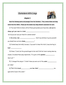 Outsiders Slang and Idioms-1960's Lingo Worksheets