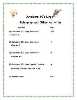 the outsiders slang and idioms 1960 39 s lingo worksheets by jim tuttle. Black Bedroom Furniture Sets. Home Design Ideas