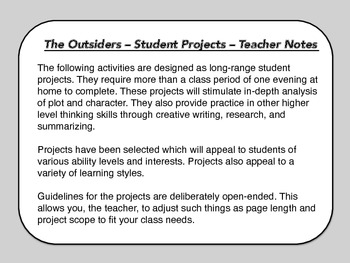 THE OUTSIDERS - Student Projects / Summative Tasks
