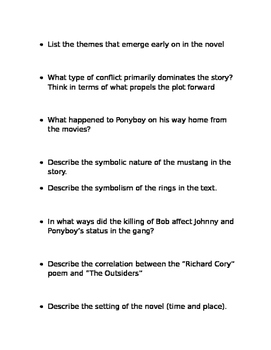 The Outsiders Study Guide ch 1-4