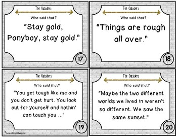 The Outsiders Task Card Set