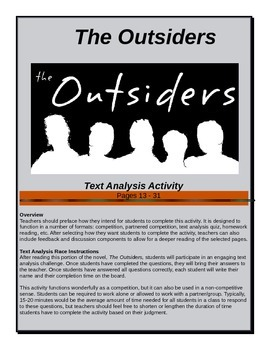 The Outsiders - Text Analysis Race - Pages 13-31 - Common Core Aligned