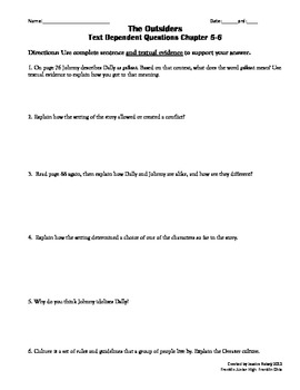 The Outsiders Text Dependent Questions Ch 5-6