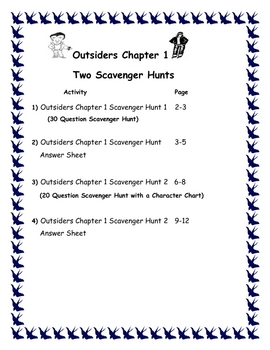 Outsiders Two Scavenger Hunts for Chapter 1