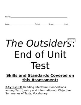 The Outsiders Unit Test Common Core
