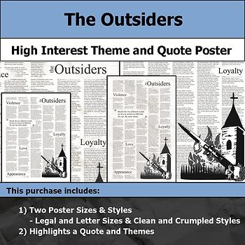 The Outsiders - Visual Theme and Quote Poster for Bulletin Boards