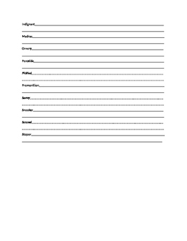 The Outsiders Vocab Sheet