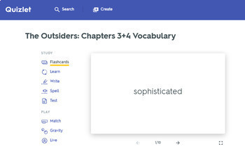 The Outsiders Vocabulary Chapters 3 & 4