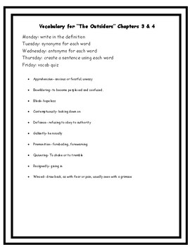 The Outsiders Vocabulary Chapters 3-4 Vocabulary Quiz and Homework