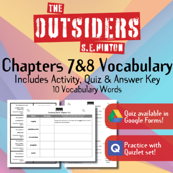 The Outsiders Vocabulary Chapters 7 8