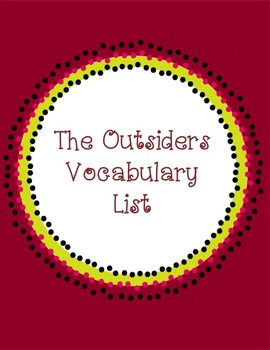 The Outsiders Vocabulary List with Definitions!