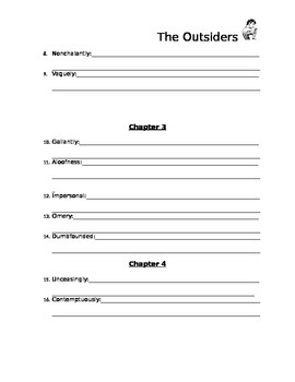 The Outsiders Vocabulary Packet