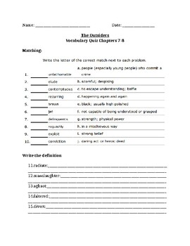 The Outsiders Vocabulary Quiz Ch. 7-8
