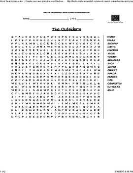 The Outsiders- Word Search