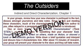 The Outsiders and Indirect Characterization, Chapter 1