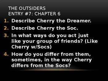 The Outsiders by HE Hinton While Reading Prompts