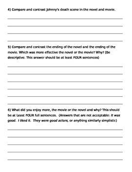 The Outsiders by S. E. Hinton Movie vs. Novel Response Sheet