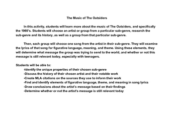 The Outsiders by S.E. Hinton Teen Culture and Music Activity