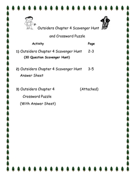 The Outsiders by SE Hinton Chapter 4 Scavenger hunt and Crossword