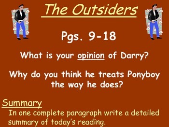 The Outsiders by S.E. Hinton Reading Response Questions