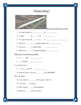 Outsiders by SE Hinton Slang and Idiom worksheets and Power Point