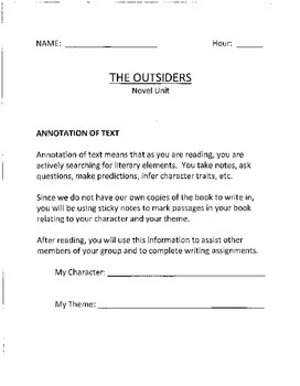 The Outsiders student packet for unit study