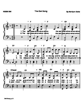 Owl Song - easy piano version w/ lyrics about the owl.