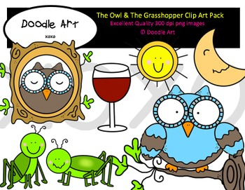 The Owl & The Grasshopper Clipart Pack