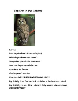 There's an Owl in the Shower- Guided Reading Group/Literature Circle Notes