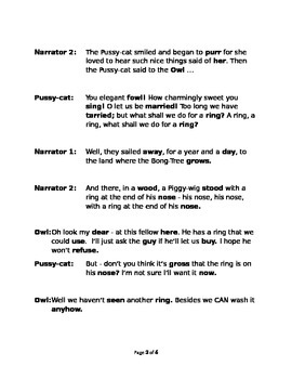 The Owl & the Pussy-cat Rhyming Reader's Theater