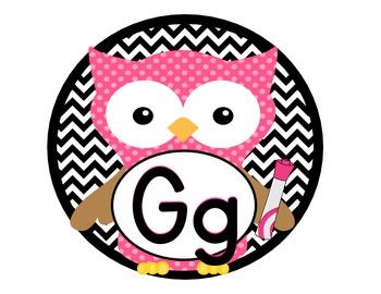 Owlphabet - Alphabet Polka Dot Owls in Chevron Circles