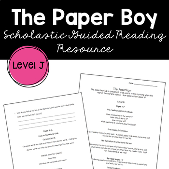 The Paperboy Dav Pilkey Guided Reading Supplemental Worksheet