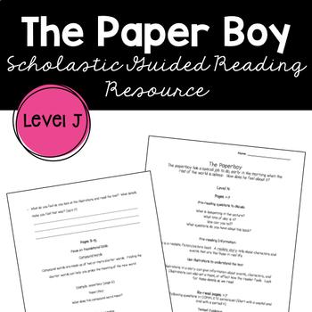 The Paperboy Dav Pilkey Guided Reading Supplemental Worksheet
