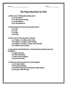 The Paperboy Quiz for Kids