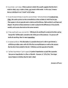 Paradox: Definition, Examples, Worksheet, and Detailed Answer Key