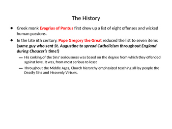 The Pardoner's Tale - 7 Deadly Sins PowerPoint